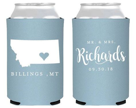 Montana State Can Coolers Wedding Can Coolers Wedding Reception Favors Wedding Favors Engagement Simple Any State Can Cooler 1813 by SipHipHooray #weddingreceptionfavors