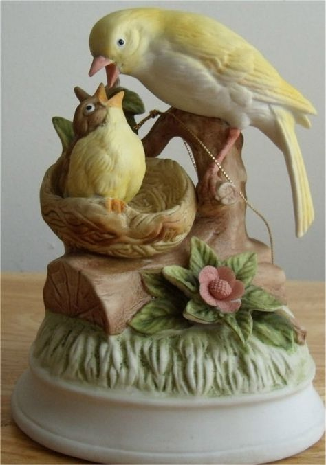 Music Box by Gorham Canary Mother and Baby Bird Plays What The World Needs Now    Just in time for Mother's Day