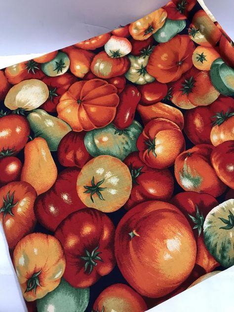 kitchen vegetables botanical Fabric Cotton Panel Make A Cushion Upholstery Craft