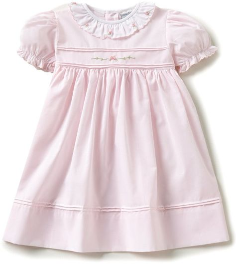 dfd4195f3 Friedknit Creations Baby Girls 12-24 Months Ruffled Scallop Rose  Embroidered Smocked Dress