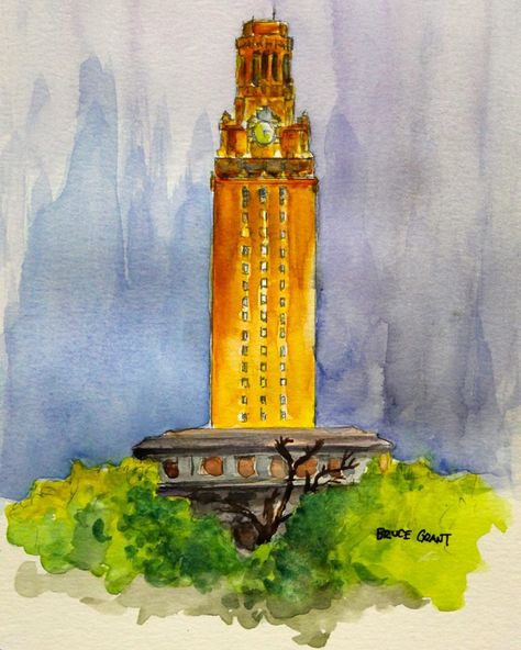 Ut Tower Watercolor Tower Leaning Tower Of Pisa