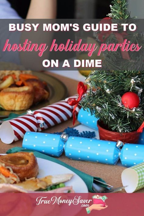 Are you hosting the next holiday celebration? Follow these frugal holiday party ideas for easy holiday party food and cheap holiday party decorations to make it the best one yet! Use these holiday celebration ideas for your next party! | cheap holiday party food | cheap holiday party ideas christmas decorations #truemoneysaver #christmas #christmasparty #party #partyplanner #holiday #holidayparty #holidaypartyideas #holidaypartydecor #holidaypartyfood #christmaspartydecor #christmaspartyfood #ch