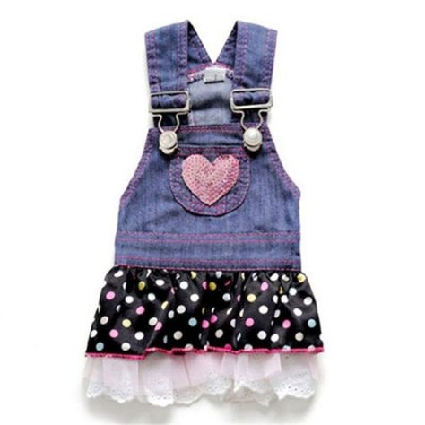 Puppy/Cat/Doggie Denim Dress/Jeans Dress with Skirt in 3 Sizes – Pet Fashion