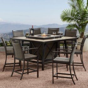 Member S Mark Agio Denver 9 Piece Balcony Height Fire Pit Dining
