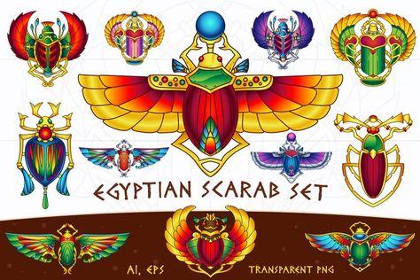 Egyptian Vector Scarab Set (27481)   Illustrations   Design Bundles