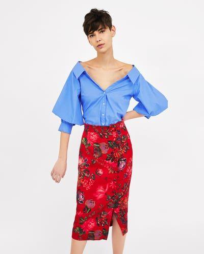 High Waist Black Button Embellished Skirt on sale only US