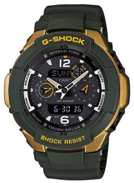 Montre Casio G-Shock pour homme et femme, couleur bleu marine et dorée. Une montre Casio avec fonction GMT pour les aviateurs.