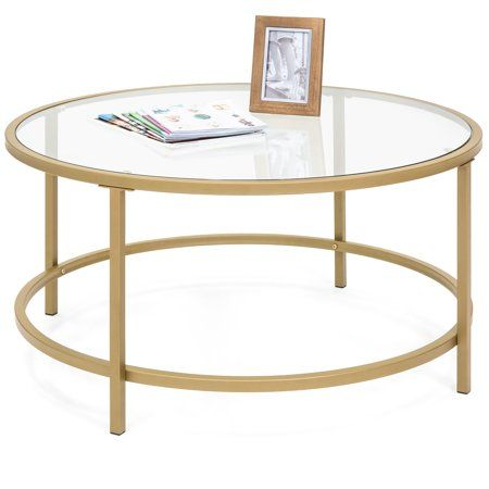 Best Choice Products 36in Round Tempered Glass Coffee Table W