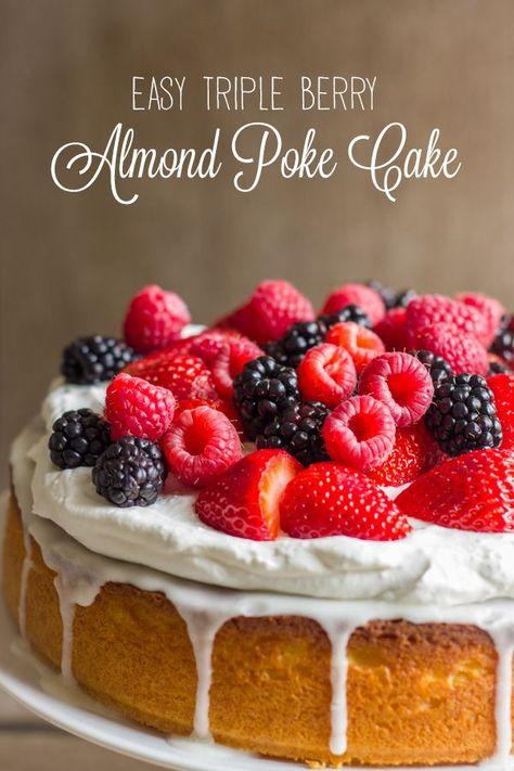 Starts with a yellow cake mix, and lightened up with Greek yogurt. #tripleberry #almondpokecake #yellowcake #stawberries #raspberries #blackberries #cake #easydesserts #dessert