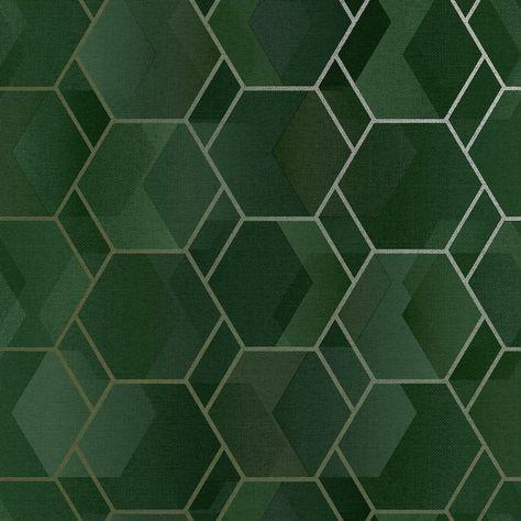 Holden Decor Asik Geo Green/Gold Wallpaper 13000   Wallpaper
