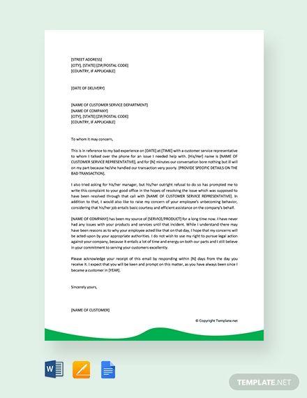 Free Simple Customer Service Complaint Letter Lettering Letter