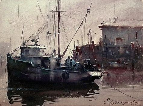 Morning In Dock Painting by Dusan Djukaric