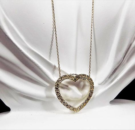 e89947e60fce Silver Heart Necklace, 925 Sterling CW Italy, Cubic Zirconia, Vintage Jewelry  Necklace. 18 Sterling Chain, Marked 925 Italy CW. The open heart is 1 tall  and ...