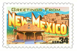 This stamp represented New Mexico in the 2002 Greetings from America stamp series.