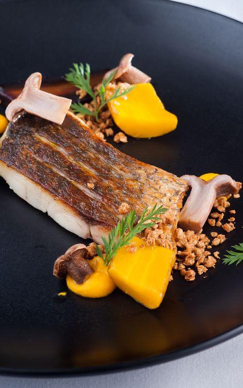 Seared sea bass with salt-baked heritage carrots by Matt Worswick.