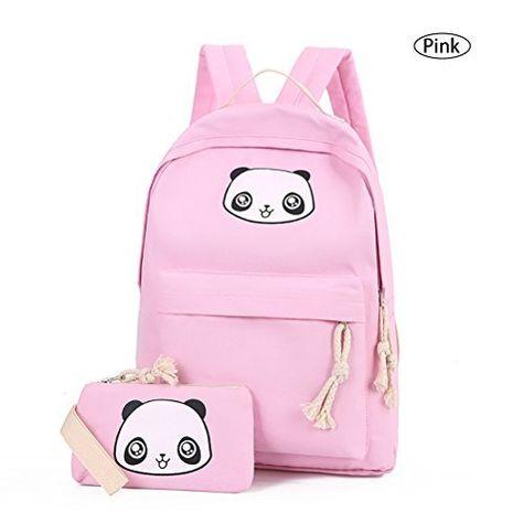8874abe973 Cute Panda Backpack Lightweight Casual Canvas School Backpacks for Teen  Girls (Pink)