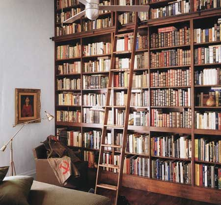 Bookshelf ladder design A sharp blend of ancient library ladder and hip  modern shelving unit with a minimalist esthetic the leaning ladder book she