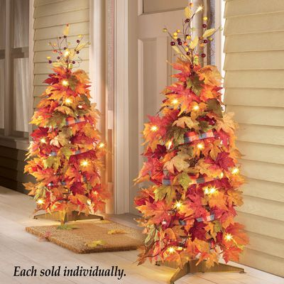 44 Lighted Harvest Fall Thanksgiving Collapsible Colorful Maple Leaves Autumn Tree Decoration Walmart Com Fall Thanksgiving Decor Fall Christmas Tree Fall Decorations Porch