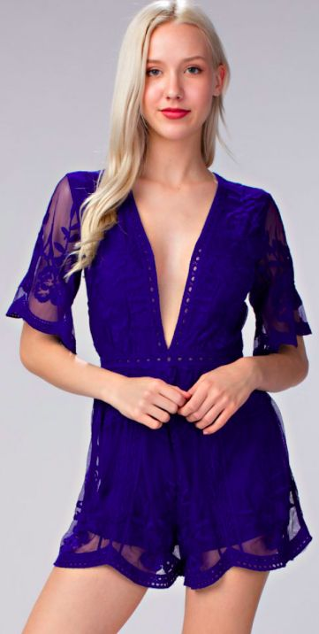dbd0638011b4 Endless Lace Royal Blue Deep V Romper