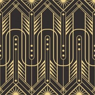 Black \u0026 Gold Abstract Art Deco Wallpaper Pattern