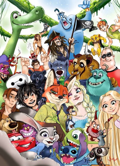Disney Pixar wallpaper many characters