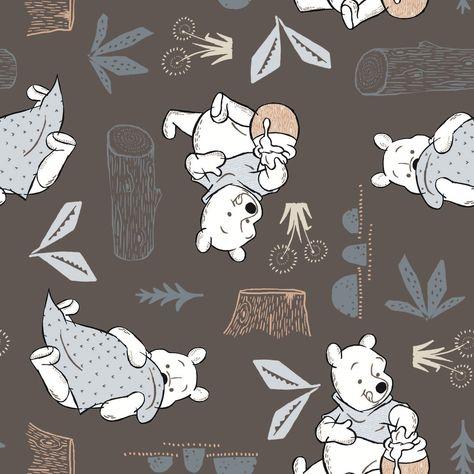 A Milne Winnie The Pooh Bear 100/% Cotton Half M Fabric White Bear Disney A