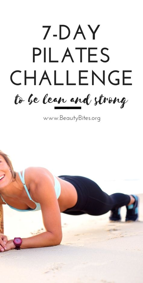 7 day pilates workout plan to be lean and strong. This Pilates challenge features cardio Pilates Workout Routine, Pilates Training, Pilates Challenge, Cardio Pilates, Pilates Reformer, Yoga Routine, Pilates Studio, Butt Workout, Week Workout