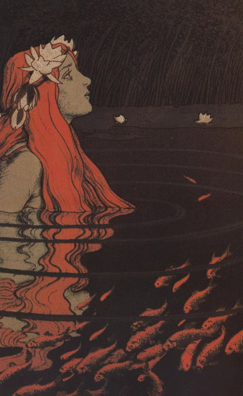 Die Nixe im Goldfischteich / The water nymph in the goldfish pond' by Franz Hein - Art Inspo, Goldfish Pond, Creation Art, Arte Obscura, Water Nymphs, Alphonse Mucha, Mermaid Art, Siren Mermaid, Oeuvre D'art