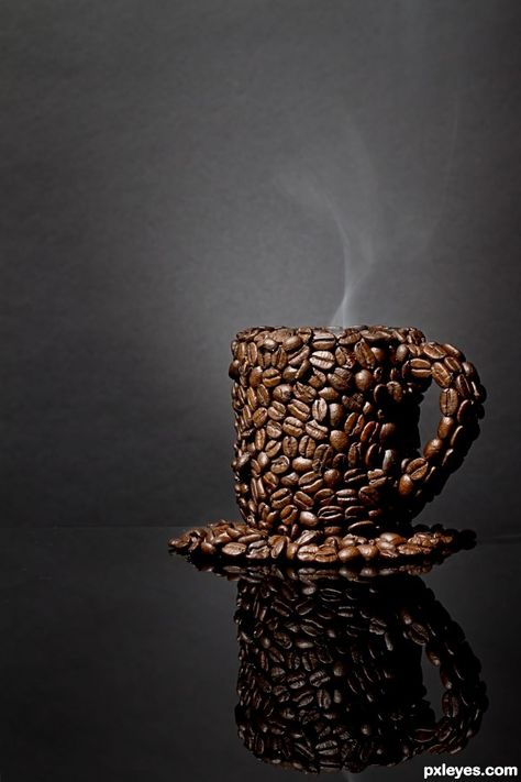 A cup of Coffee! A cup of coffee beans!