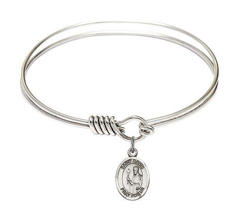 Cross Charm On A 6 1//4 Inch Oval Eye Hook Bangle Bracelet