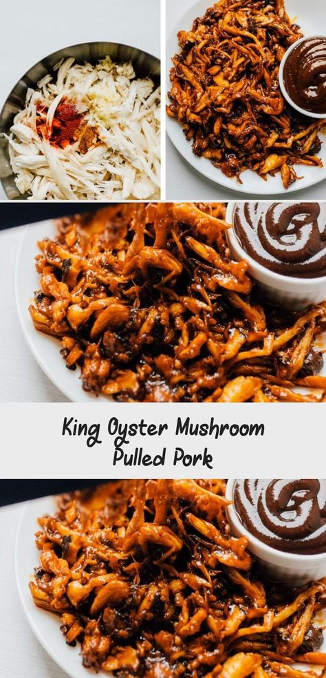 By shredding king oyster mushrooms, seasoning with spices, and baking, you can create a vegan mushroom pulled pork recipe that rivals the real stuff! Perfect on vegan sandwiches, tacos, nachos...or whenever you need pulled pork. Packed with meaty flavor (while being totally plant-based), your whole family is sure to love it! #vegan #vegetarian #pulledpork #healthyrecipe #easyrecipe #mushrooms // Live Eat Learn #Veganrecipe #Fallrecipe #PioneerWomanrecipe #Bestrecipe #GlutenFreerecipe