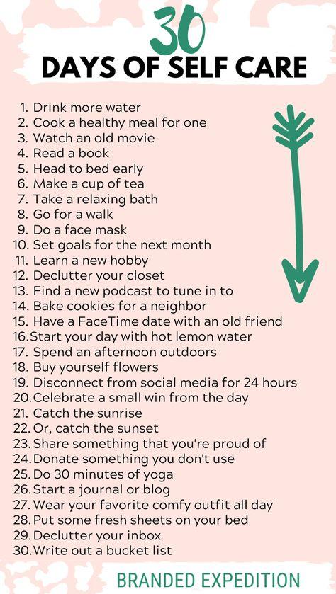 Take a 30 days of self care challenge! #selfcare #wellness #healthyliving #lifestyleblog #wellnessblog