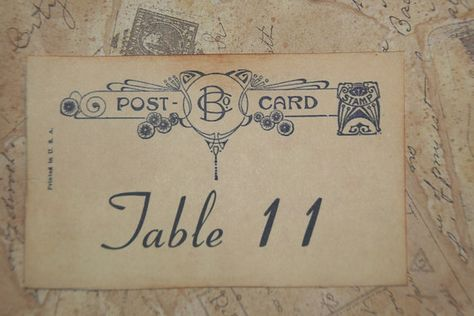 Wedding Table Number Cards  Vintage Postcard by GreenAcresCottage, $24.00