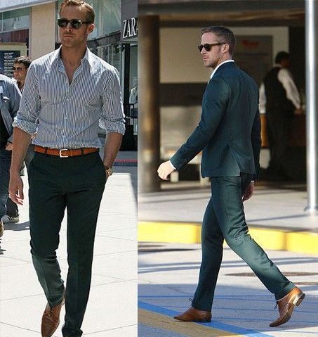 f828932840 Best outfit Ryan Gosling has worn to date. LOVE this menswear look.  fashion   celeb  style