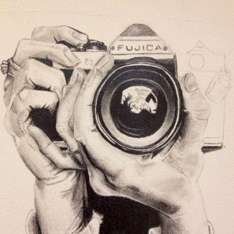 Drawn camera pencil drawing #7