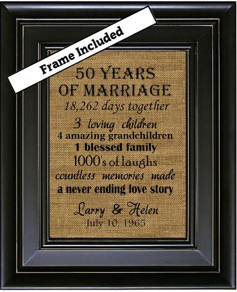 50th Wedding Anniversary/50th Anniversary Gifts/50th Wedding Anniversary Gifts/50 years of Marriage/Burlap Wall Art/Subway Art