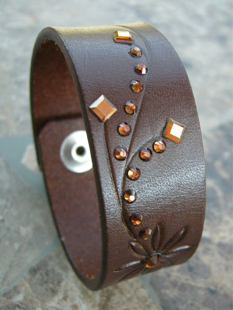 Leather Bracelet Recycled Swarovski Crystal Rhinestones Brown Flower Reclaimed Cuff with Snap