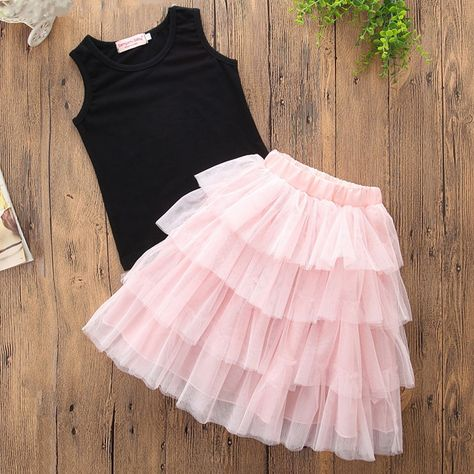 c39ca02d76 Mommy and Me Black Tank and Pink Layers Tutu Skirt Two-piece Outfits
