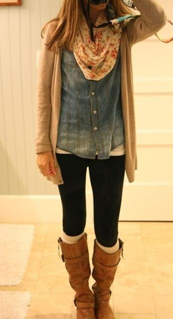 Chambray shirt, purple flowered scarf, cardigan same color(s) as in scarf, black pants, brown or black boots.