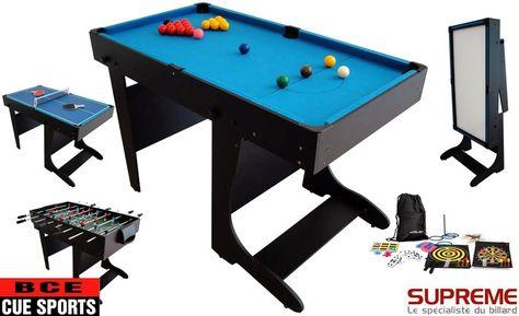 Billard Multi Jeux 21 En 1 Pliable Noire Meuble Transformable