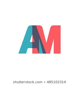 Uppercase Am Logo Modern Classic Pale Blue Red Overlap