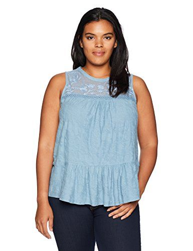 Lucky Brand Womens Size Plus Tiered Jacquard Tank Top