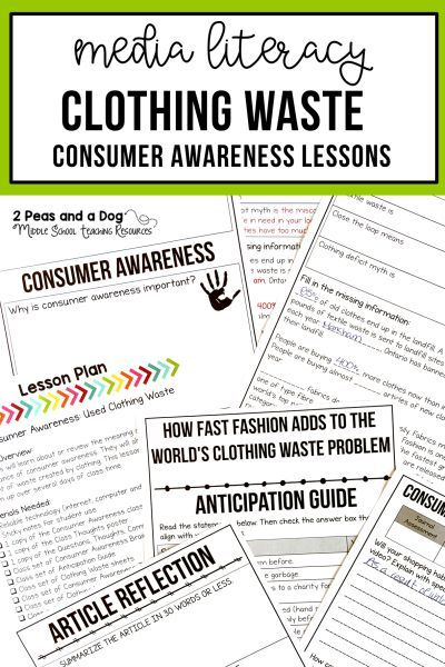 Media Literacy Consumer Awareness Lesson Clothing Waste Media Literacy Media Literacy Lessons Writing Lessons