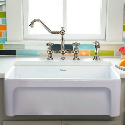 Whitehaus Collection Fireclay 30 L X 20 W Farmhouse Kitchen Sink Finish White Farmhouse Sink Kitchen Sink Single Bowl Sink