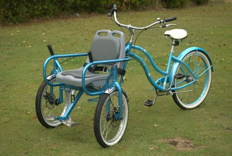 Bike Chair for Special Needs – allows you to take someone with limited mobility for a ride. - Women's style: Patterns of sustainability Three Wheel Bicycle, Velo Cargo, Tricycle Bike, Adult Tricycle, Side Car, Bicycle Maintenance, Electric Bicycle, Special Needs, Cool Bikes