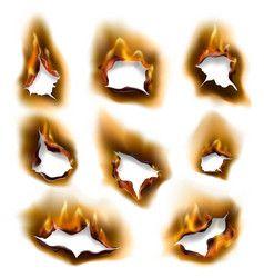Realistic Burning Fire Flames Burnt Paper Holes Vector Studio Background Images Burnt Paper Dslr Background Images