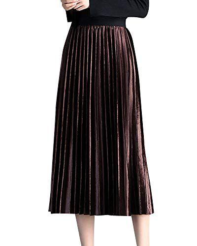 3eacdf0bc99d8 Femme Jupe Plissée Longue Taille Elastique Jupes Réversible pour L a tomne  Hiver Marron foncé
