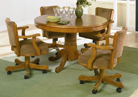 Oak Dining Sets With Caster Chairs Chair With Casters Solid Oak