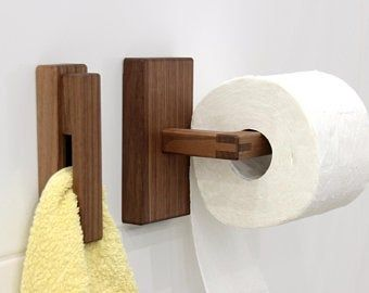Bathroom Towel Holder Toilet Paper Holder Walnut White Etsy In 2020 Wood Toilet Paper Holder Toilet Paper Holder Towel Holder Bathroom