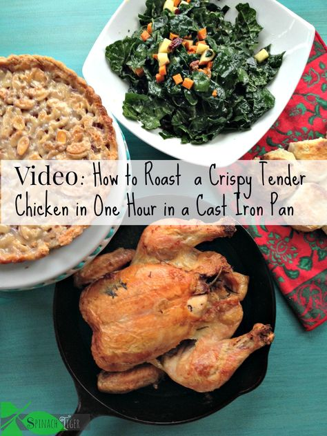 Whole Roast Chicken Video. It takes one hour. You use a cast iron pan and high heat and you get crispy and tender Roast Chicken. by angela roberts